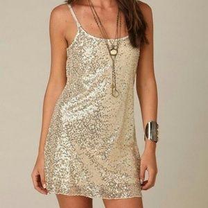 Free People Intimately Gold Dress Sz S